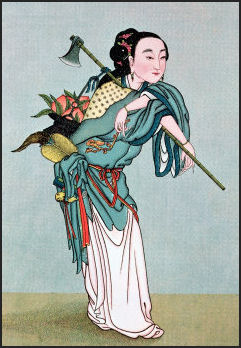 The immortal Mágū, collecting medicinal roots, fruits and plants