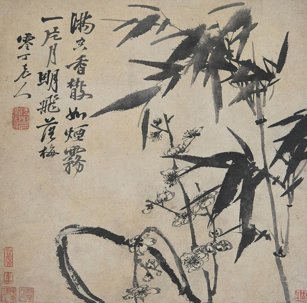 Plum and Bamboo under the Moon 月下梅竹 Shí Tāo 石濤 [1642-1707], Early Qing Dynasty. www.ElementalChanges.com